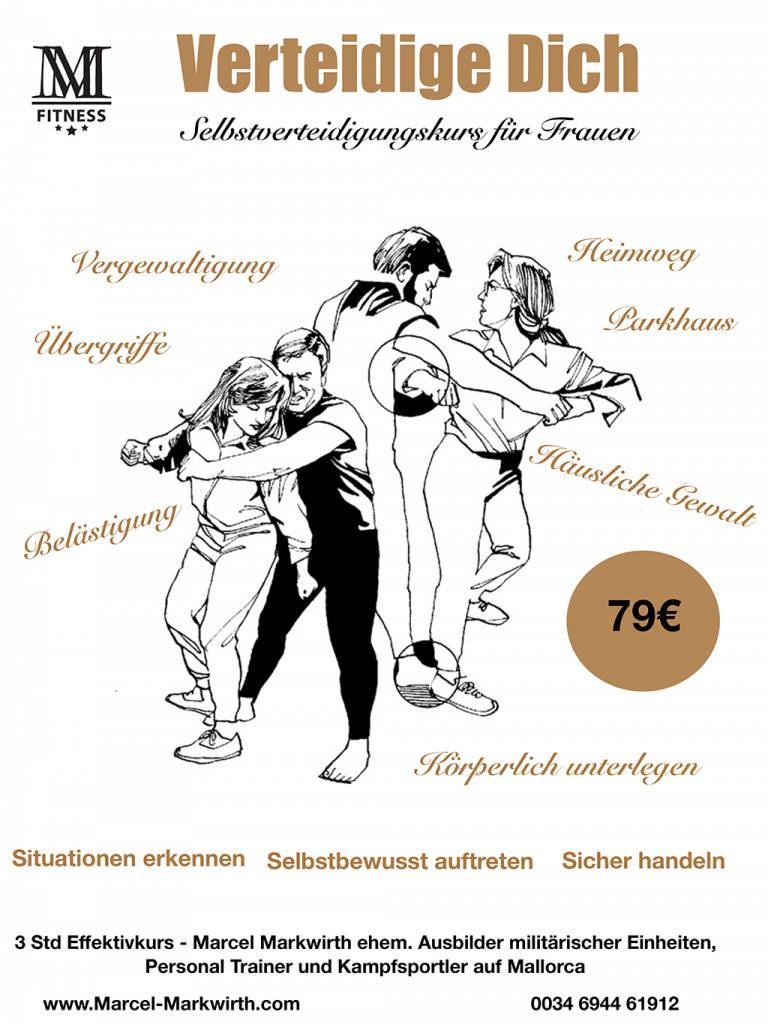 Selbstverteidigung für Frauen – ein Flyer mit Beispielabbildungen